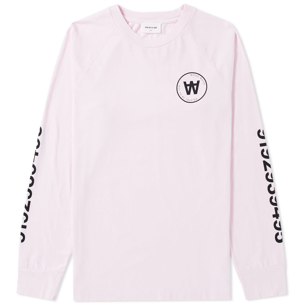 Photo: Wood Wood Long Sleeve Han Circle Logo Tee Pink