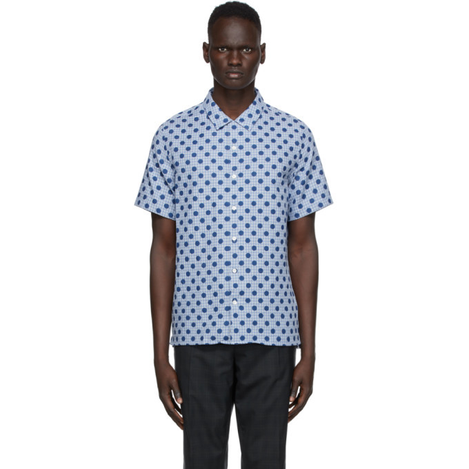 Photo: PS by Paul Smith Blue Polka Dot Casual Short Sleeve Shirt