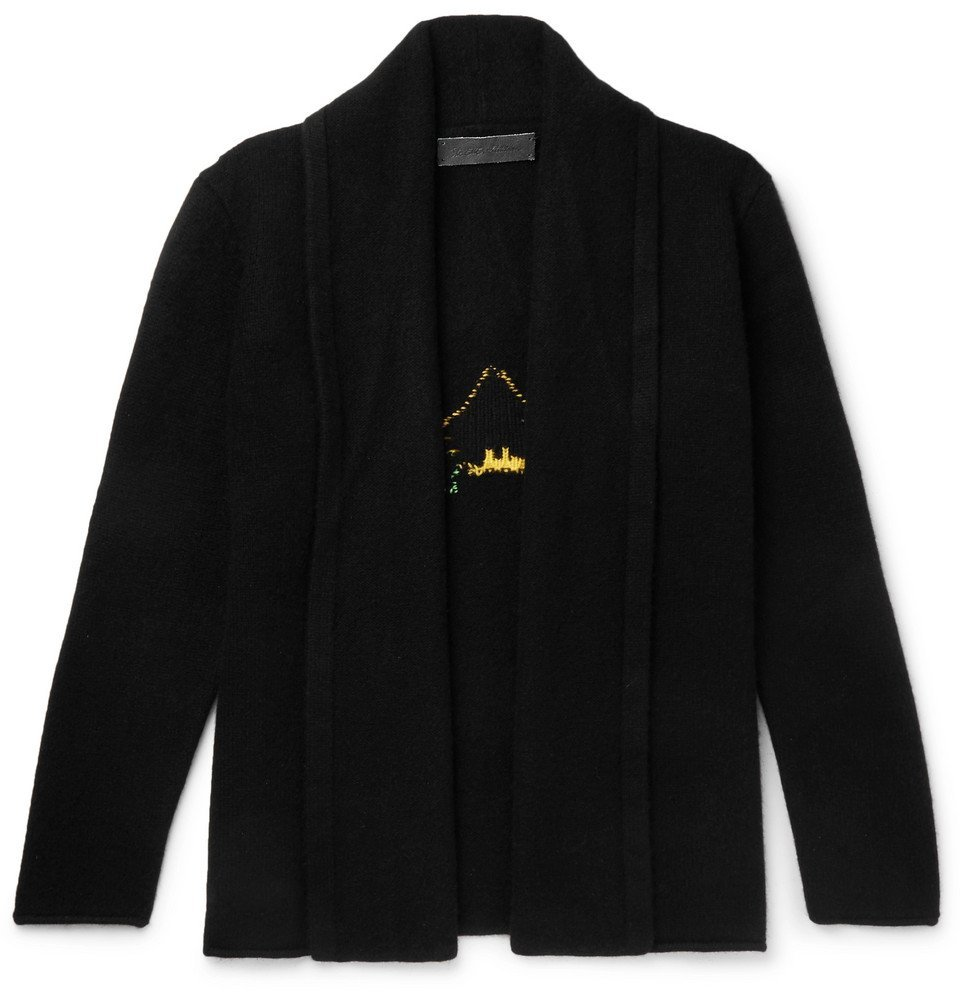 The Elder Statesman - Shawl-Collar Intarsia Cashmere Cardigan - Black