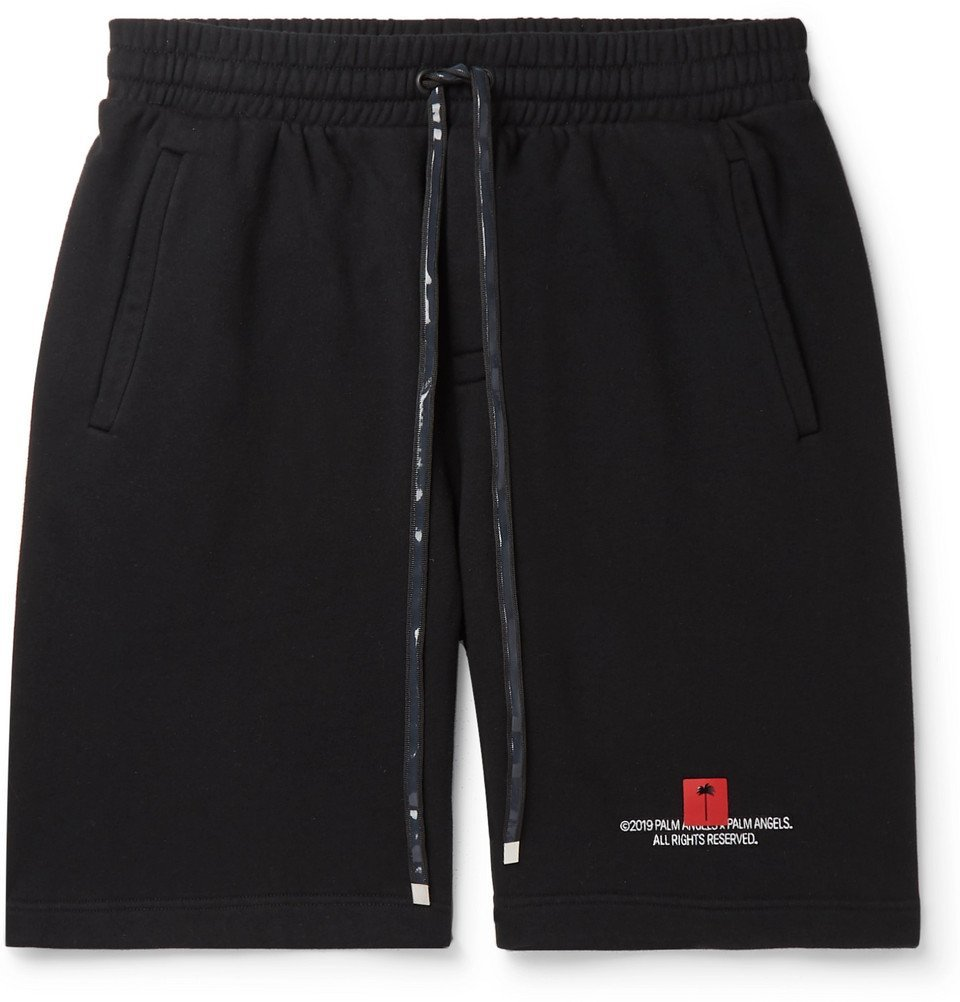 Photo: Palm Angels - Wide-Leg Logo-Embroidered Fleece-Back Cotton-Jersey Drawstring Shorts - Black