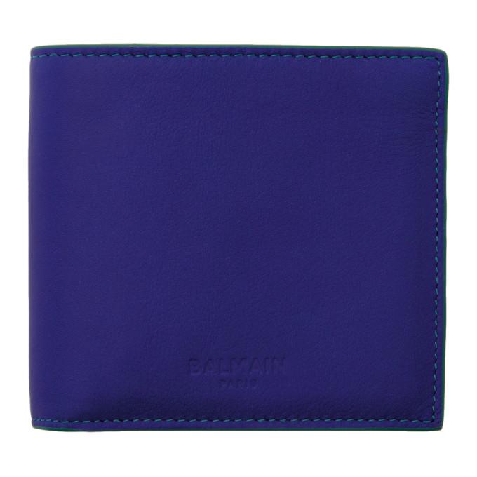 Photo: Balmain Blue Leather Bifold Wallet
