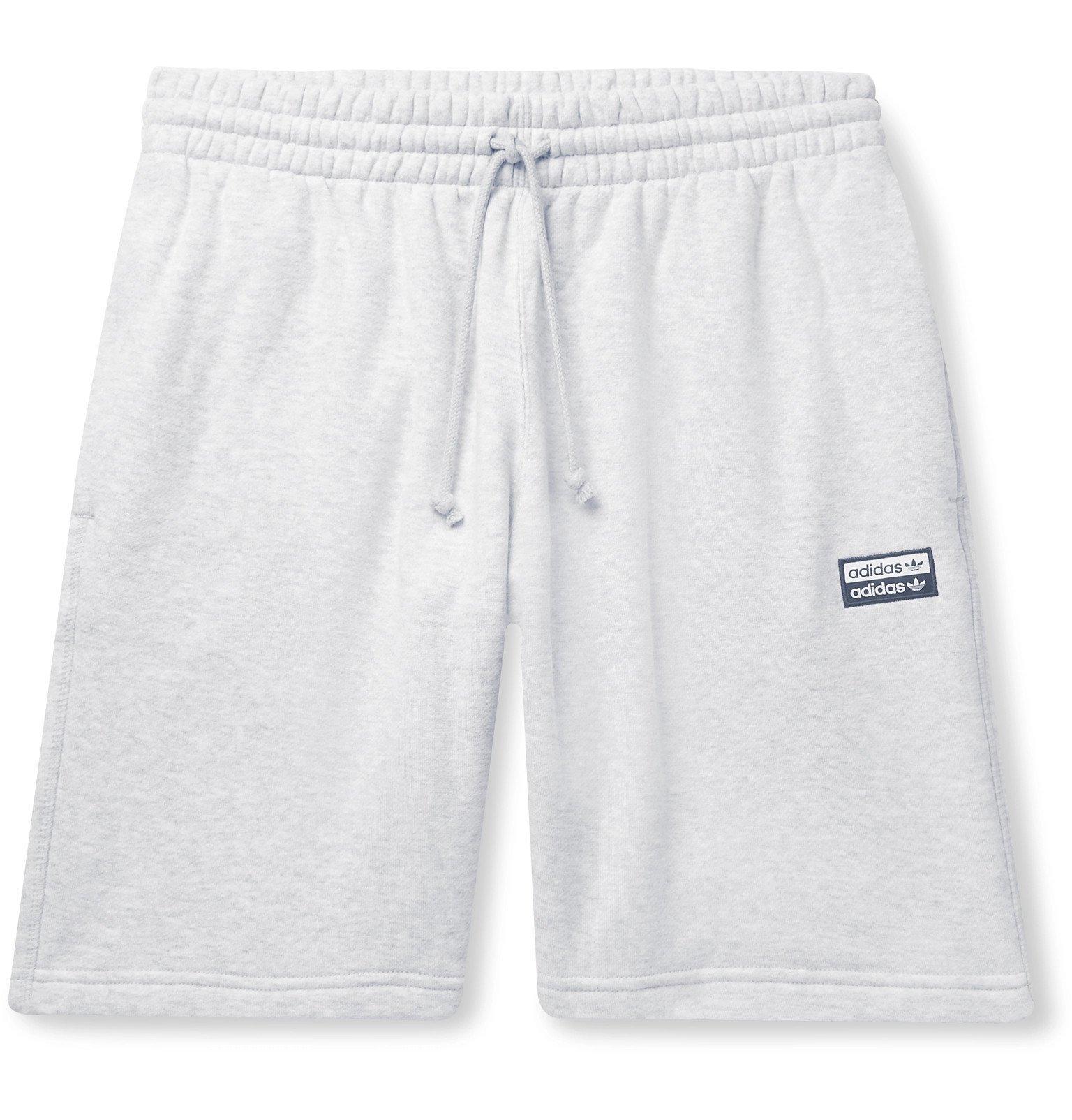adidas Originals - Mélange Loopback Cotton-Jersey Drawstring Shorts - Gray