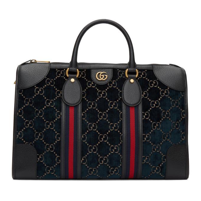 Photo: Gucci Navy Velvet GG Duffle Bag
