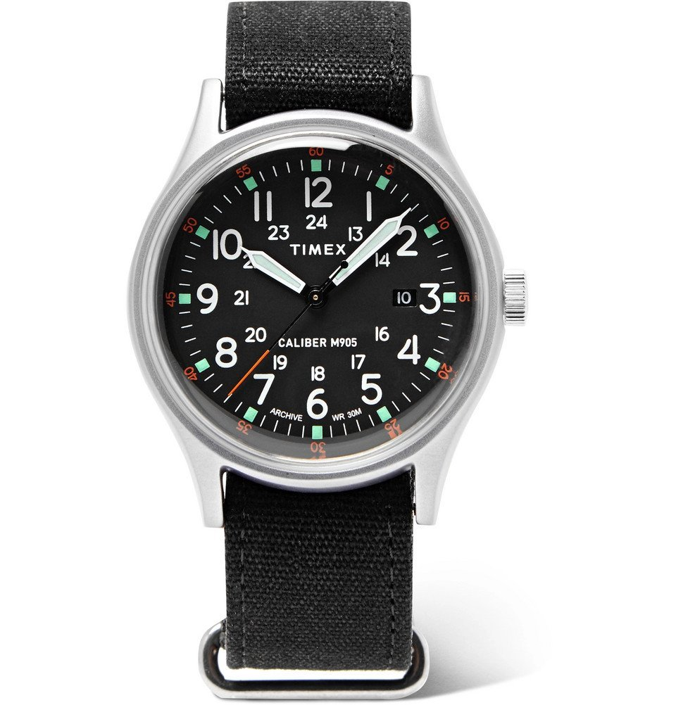 Photo: Timex - MK1 Camper Aluminium and Oiled-Canvas Watch - Black