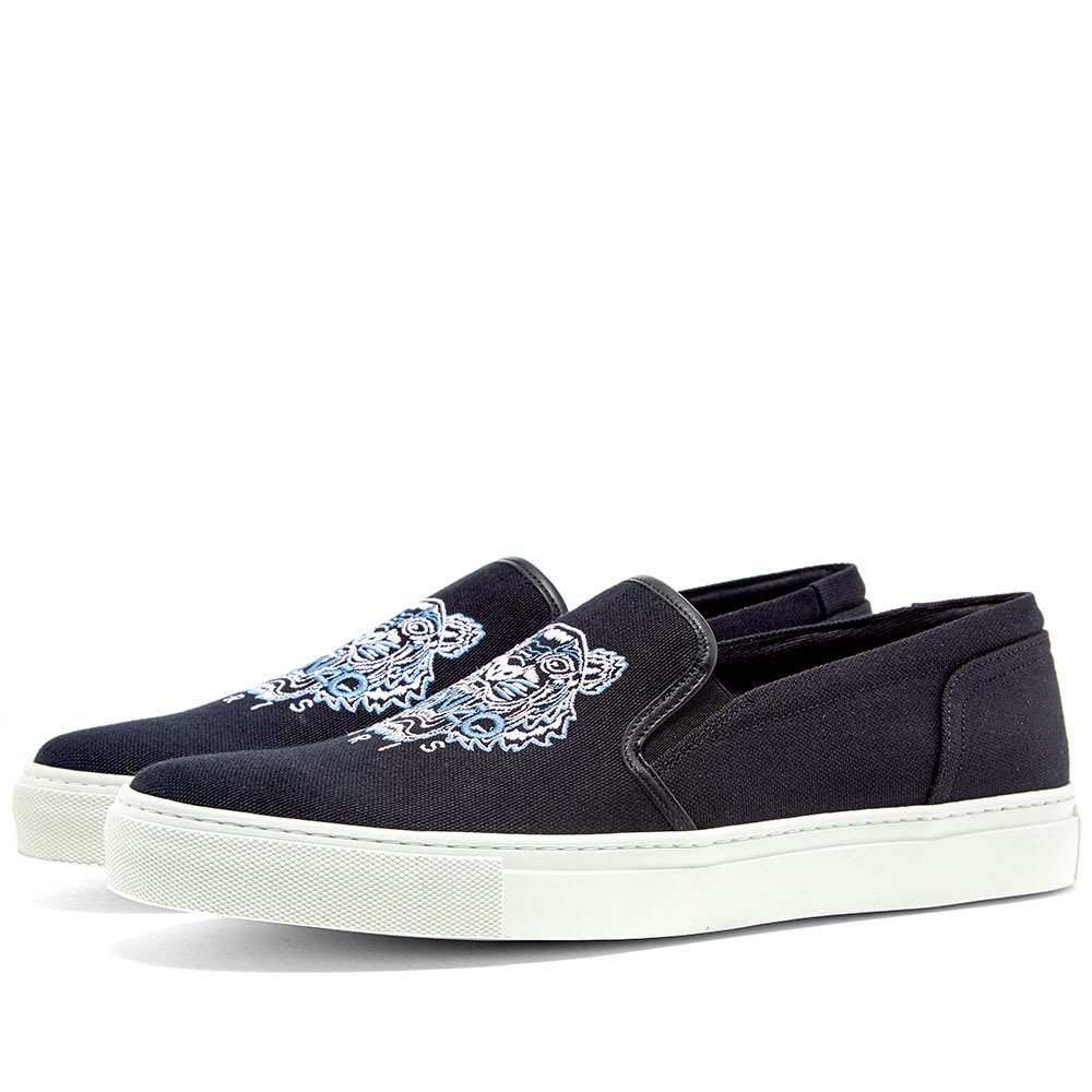 Photo: Kenzo Tiger Skate Slip On Sneaker Black & Blue