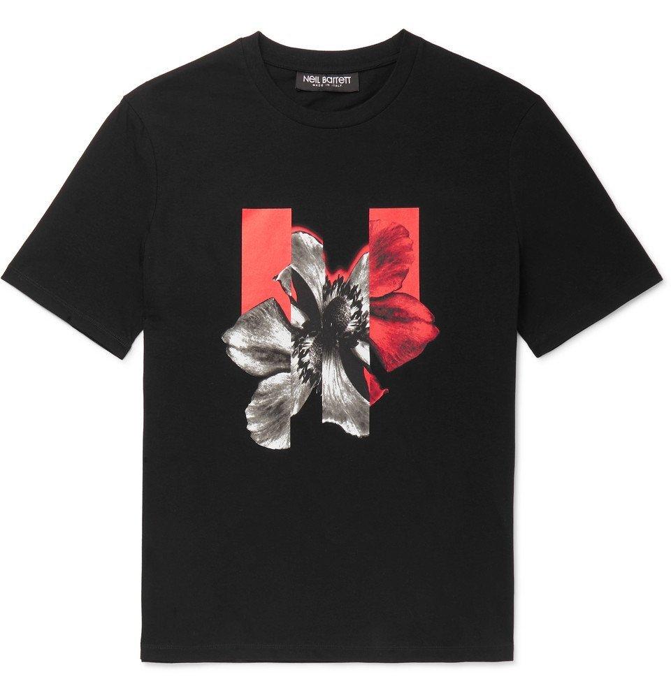 Photo: Neil Barrett - Printed Stretch-Cotton Jersey T-Shirt - Black