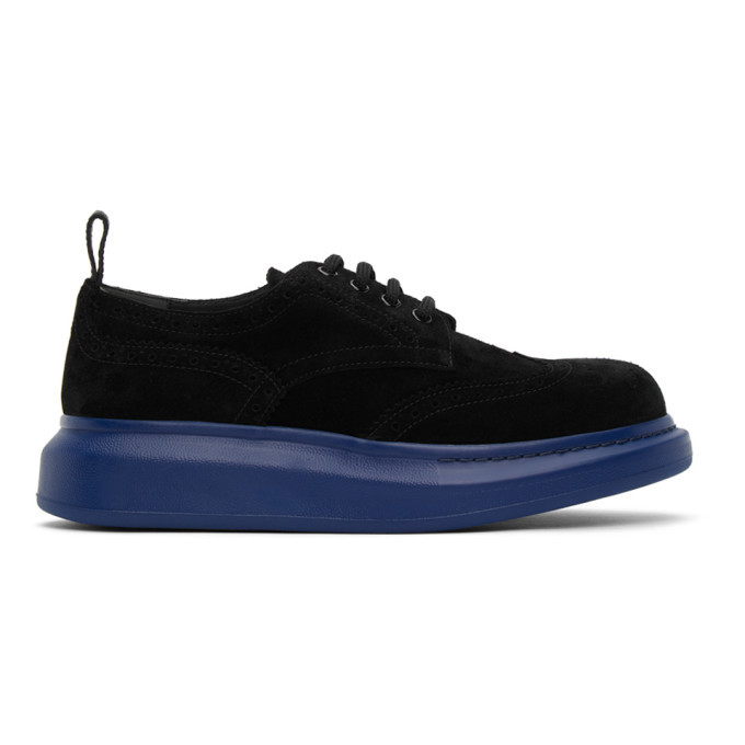 Photo: Alexander McQueen SSENSE Exclusive Black and Blue Hybrid Oversized Brogues