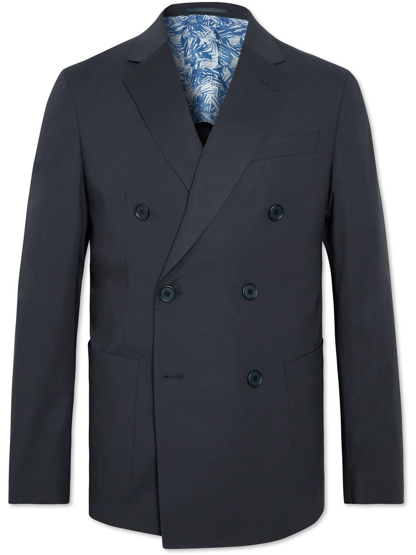 HUGO BOSS - Double-Breasted Cotton-Blend Suit Jacket - Blue