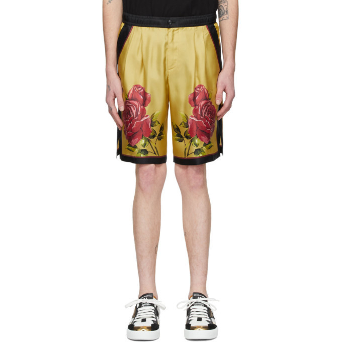 Photo: Dolce and Gabbana Yellow Silk Rose Bermuda Shorts