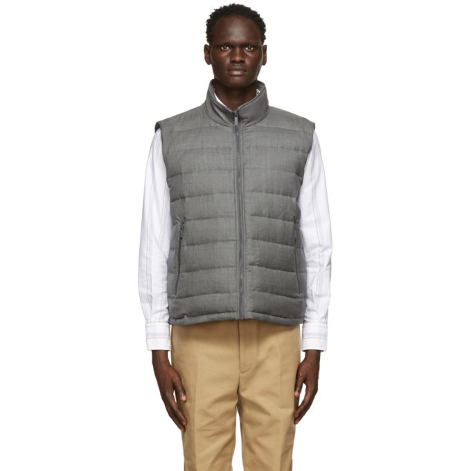 Photo: Thom Browne Grey Down Super 120s Funnel Neck Vest