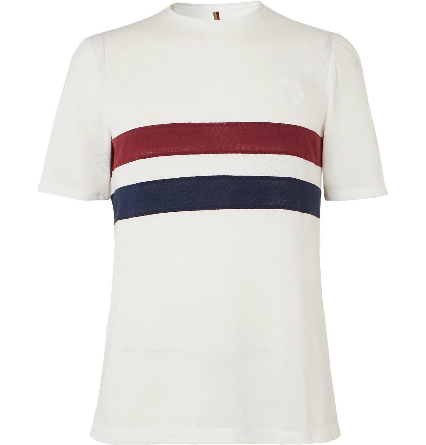 Photo: Iffley Road - Cambrian Striped Drirelease Piqué T-Shirt - White