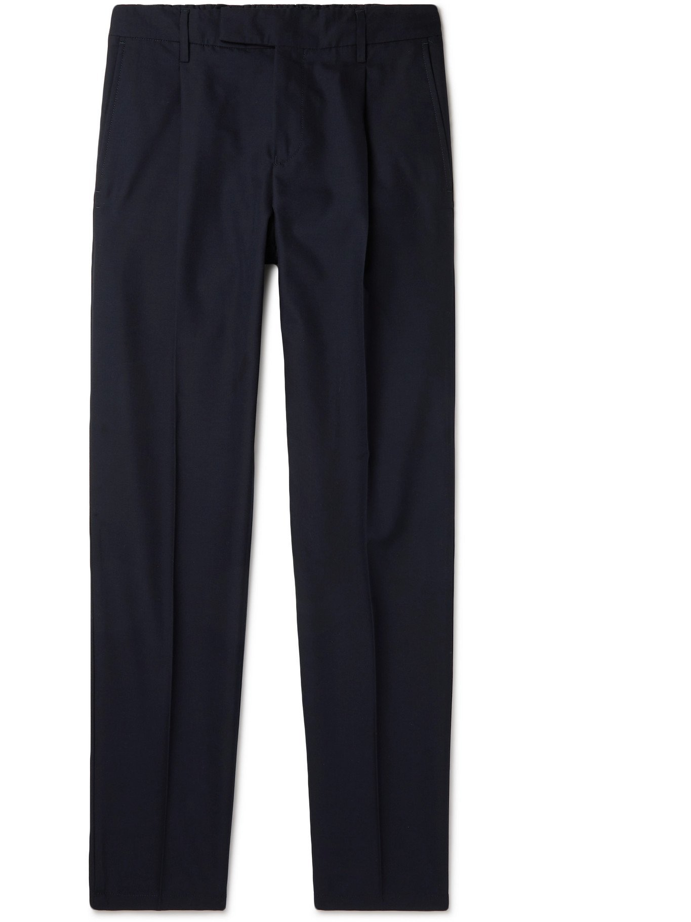 DUNHILL - Slim-Fit Wool and Cotton-Blend Trousers - Blue
