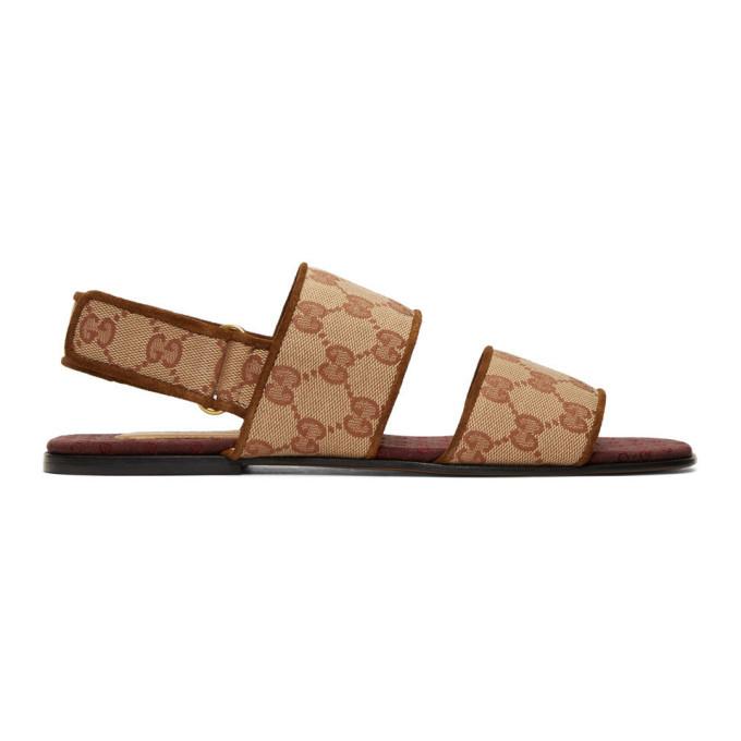 Photo: Gucci Brown Canvas GG Sandals