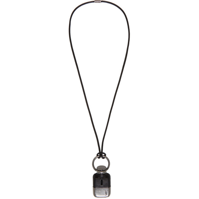 Photo: Saint Laurent Black and Silver Flask Necklace