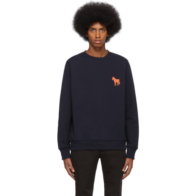 Photo: PS by Paul Smith Navy Embroidered Zebra Sweatshirt