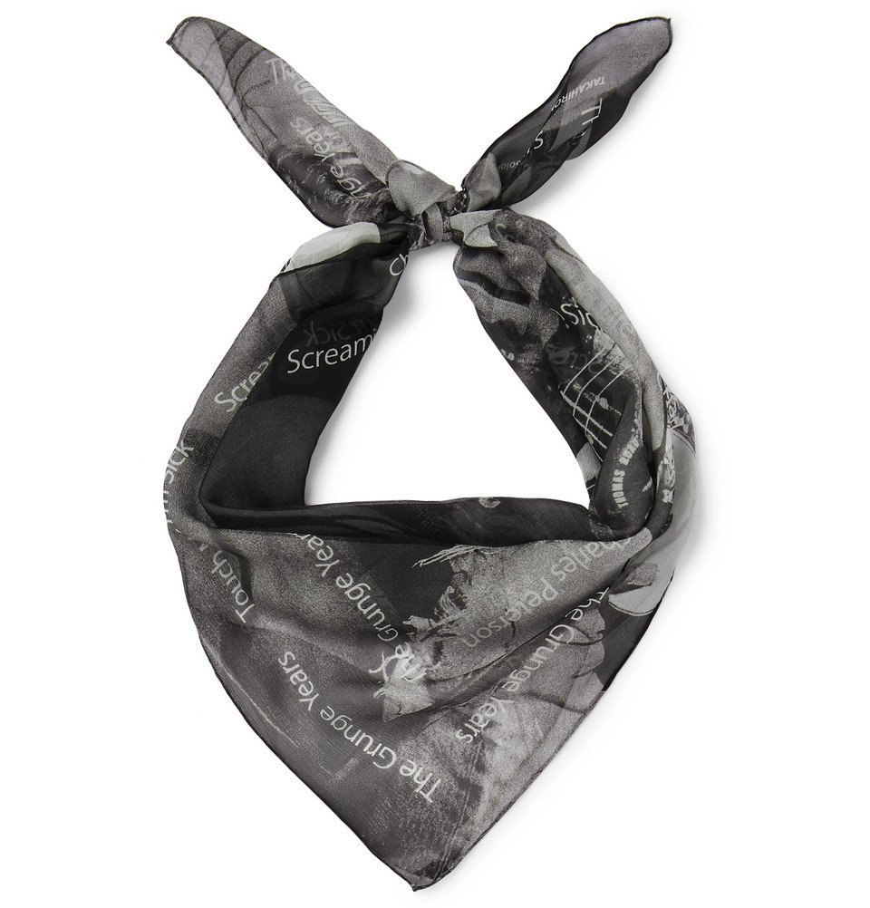 Photo: TAKAHIROMIYASHITA TheSoloist. - Printed Silk-Gauze Scarf - Black