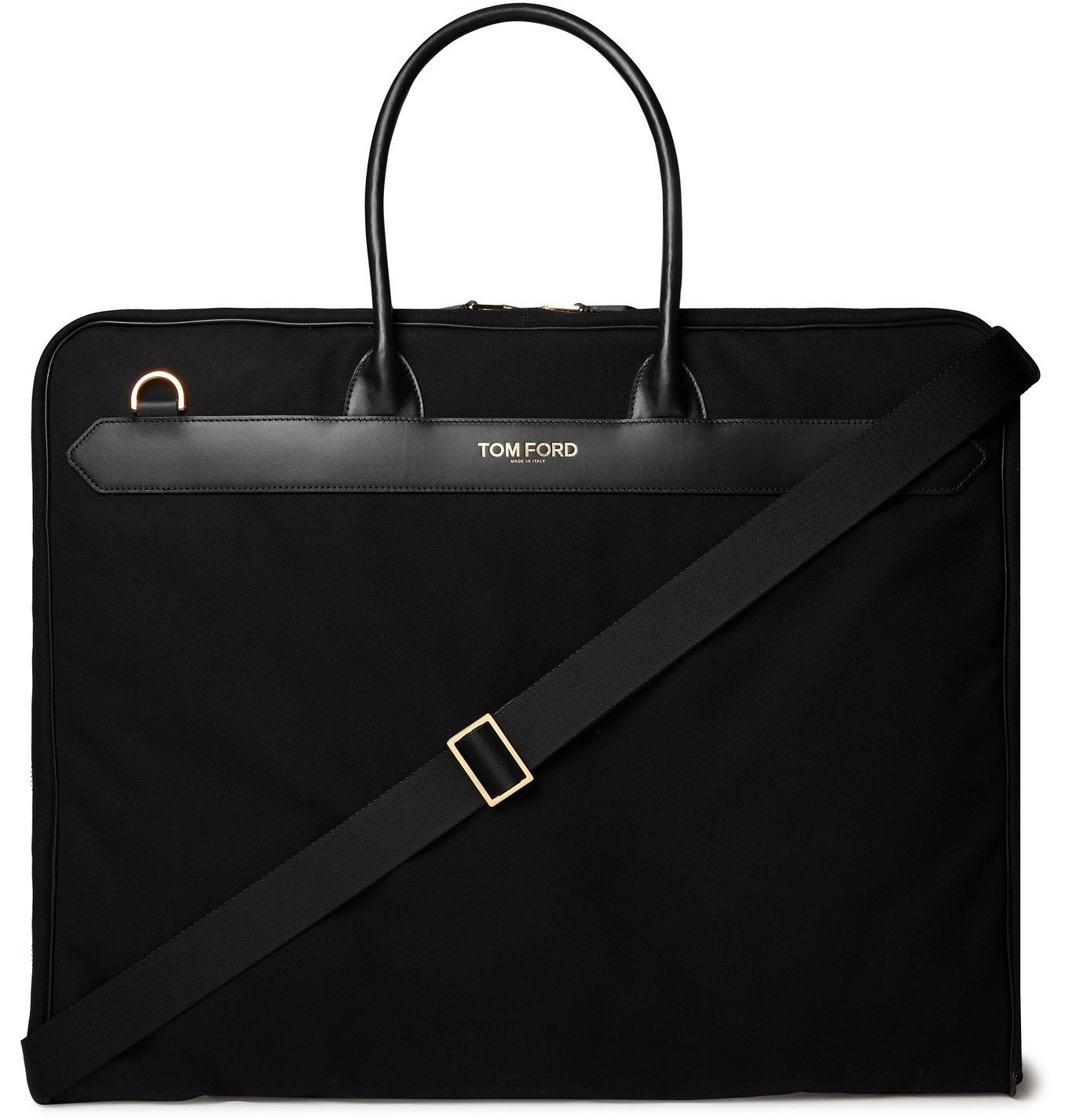 Photo: TOM FORD - Leather-Trimmed Canvas Garment Bag - Black