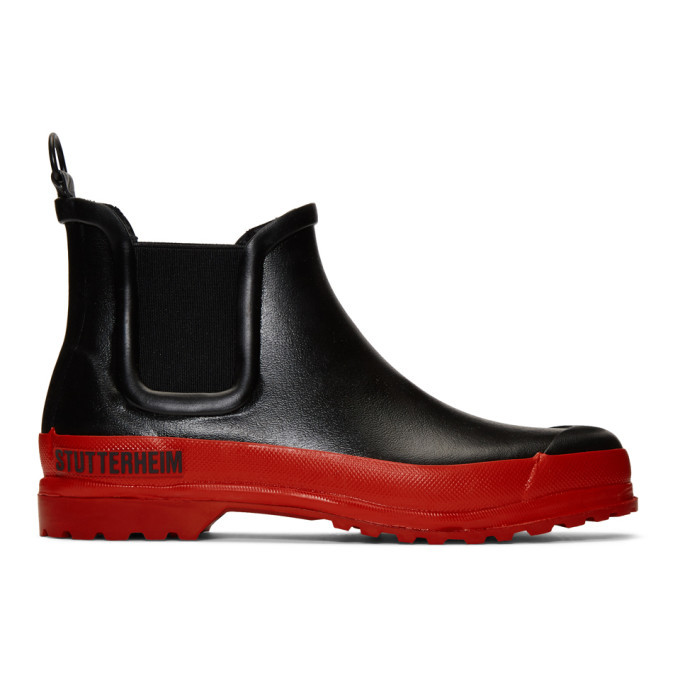 Photo: Stutterheim Black and Red Rainwalker Chelsea Boots