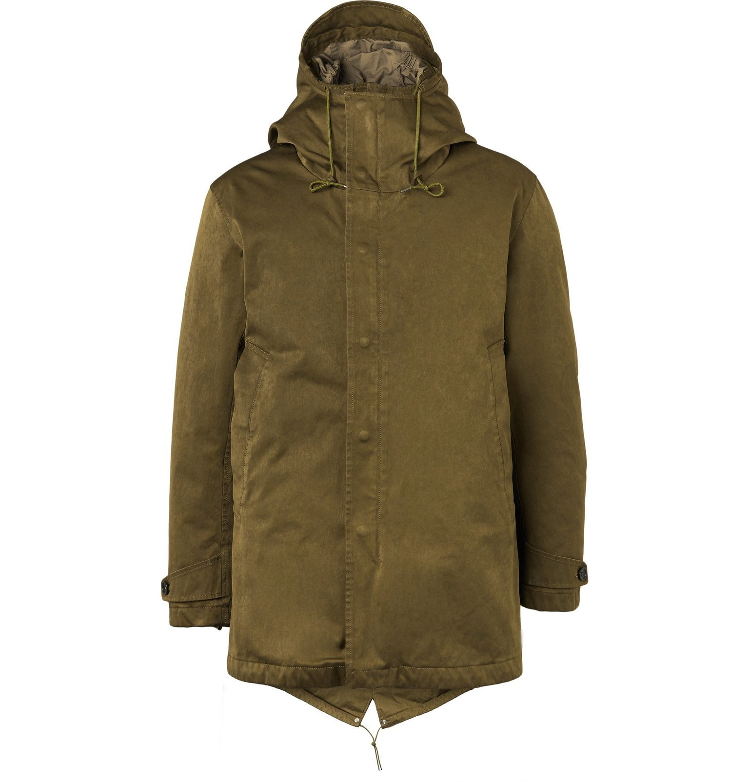 Photo: Ten C - Quilted Microfiber Hooded Down Parka - Green