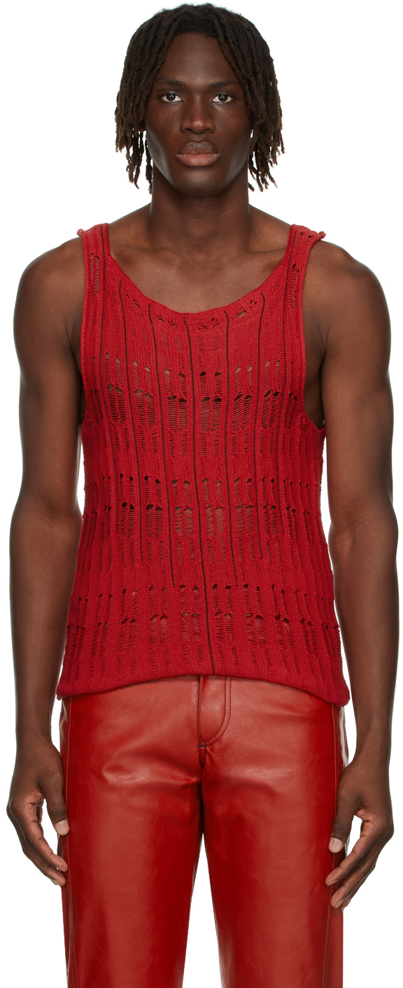 Photo: Situationist Red Knit Tank Top