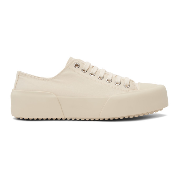 Photo: Jil Sander Off-White Canvas Sneakers
