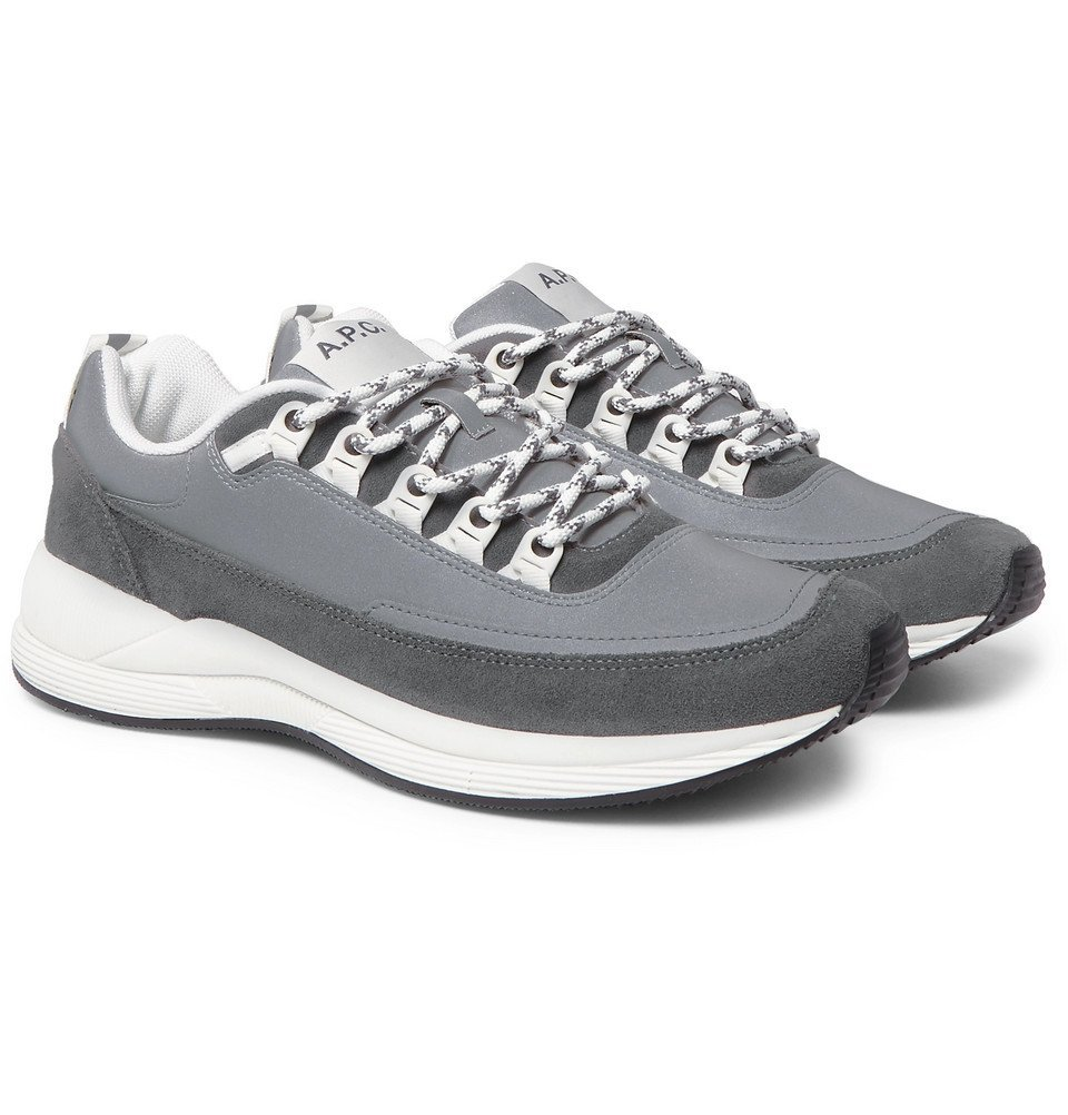 Photo: A.P.C. - Techno Homme Reflective-Panelled Suede and Nylon Sneakers - Gray