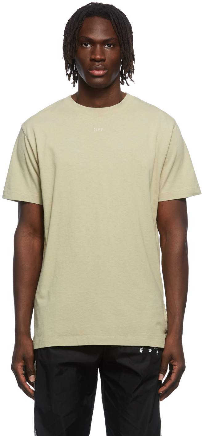 Photo: Off-White Taupe Rubber Arrow Bonded Logo T-Shirt