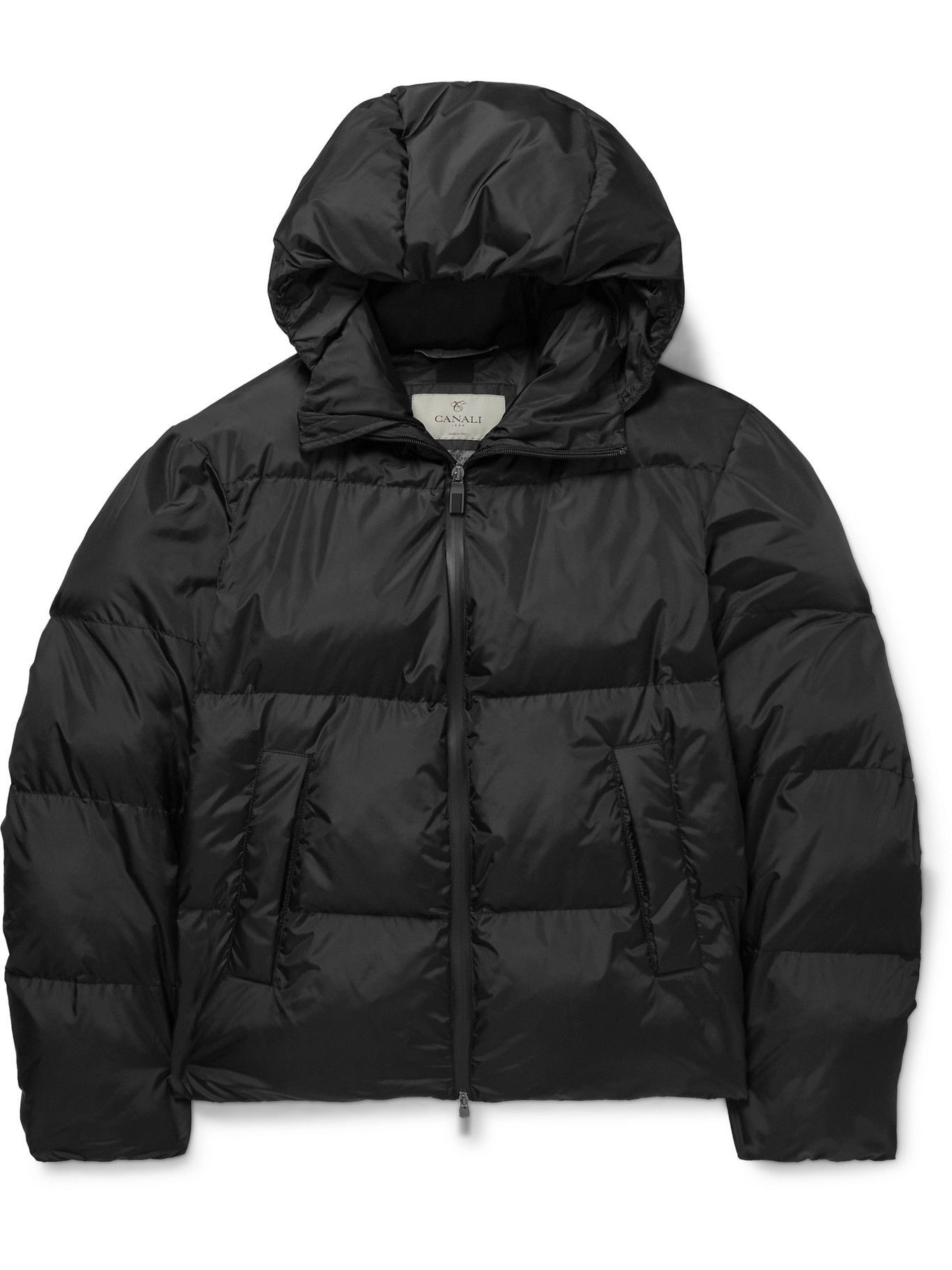 Photo: CANALI - Padded Quilted Shell Hooded Jacket - Black