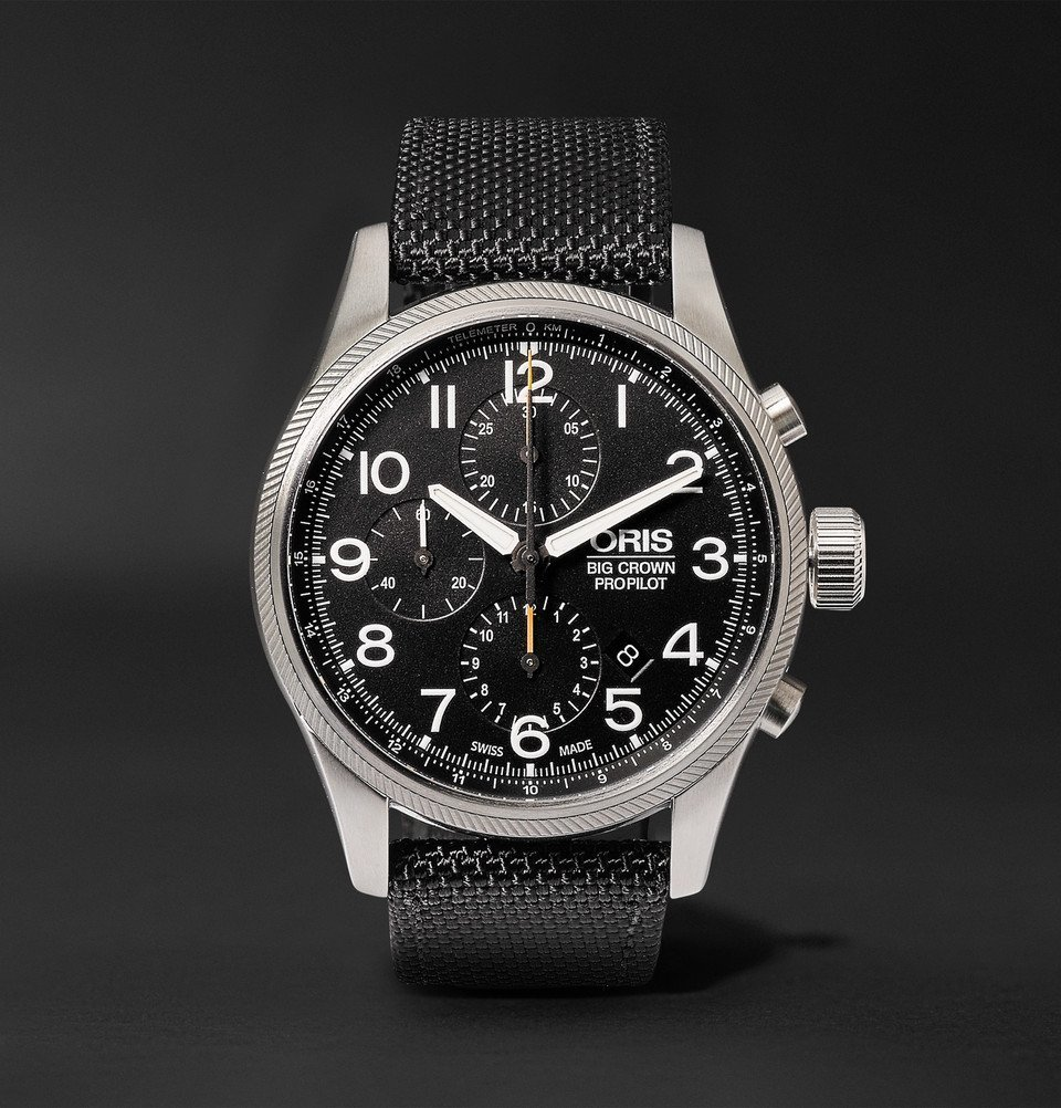 Photo: Oris - Pro Pilot Automatic Chronograph 44mm Stainless Steel and Canvas Watch - Men - Black