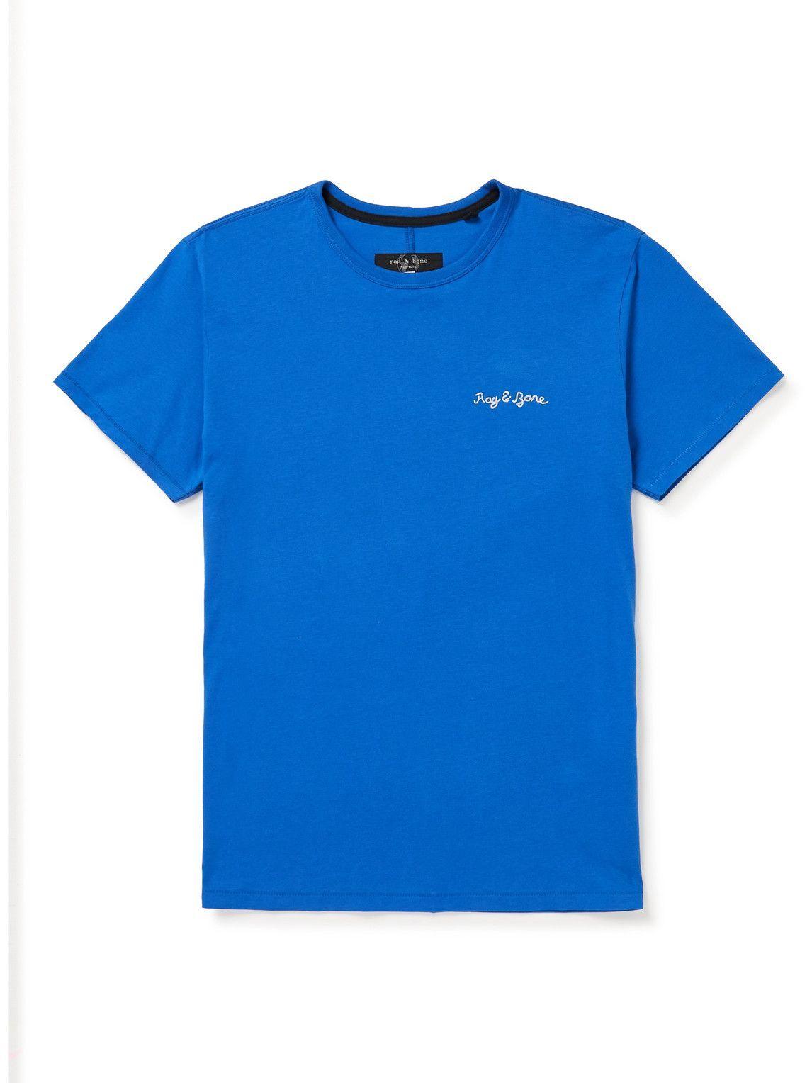 Photo: Rag & Bone - Principle Logo-Embroidered Organic Cotton-Jersey T-Shirt - Blue