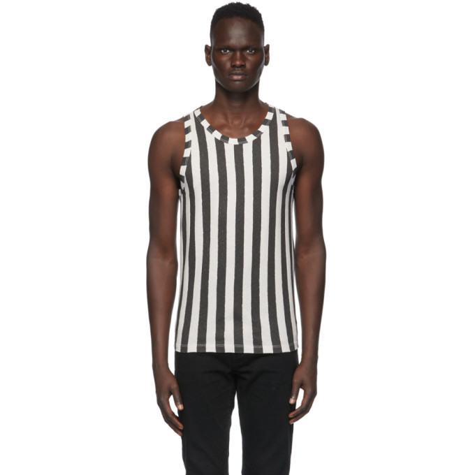 Photo: Saint Laurent Black and Off-White Striped Tank Top