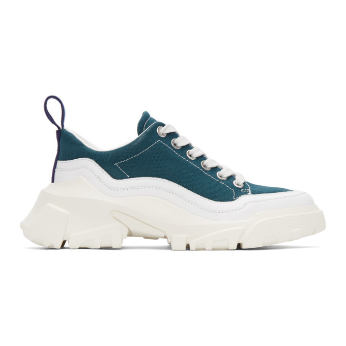 Photo: MCQ Green and White Orbyt Basketball Sneakers