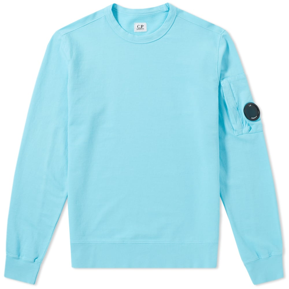 C.P. Company Garment Dyed Light Fleece Arm Lens Sweat Blue
