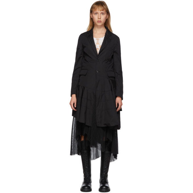 Photo: Comme des Garcons Homme Plus Black Cotton Broadcloth Spiral Seam Coat