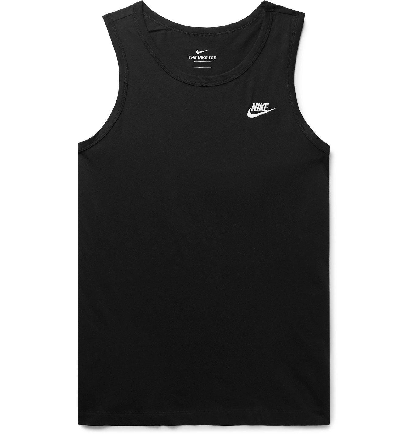 Photo: Nike - Sportswear Club Logo-Embroidered Cotton-Jersey Tank Top - Black