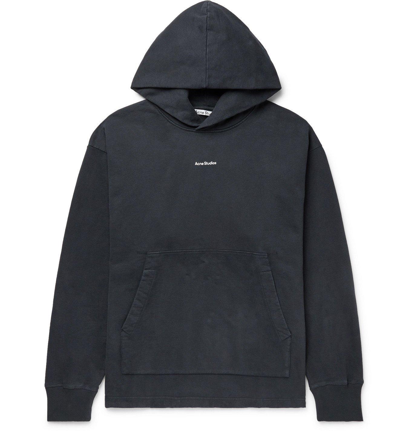 Photo: ACNE STUDIOS - Franklin Oversized Logo-Print Fleece-Back Cotton-Jersey Hoodie - Black