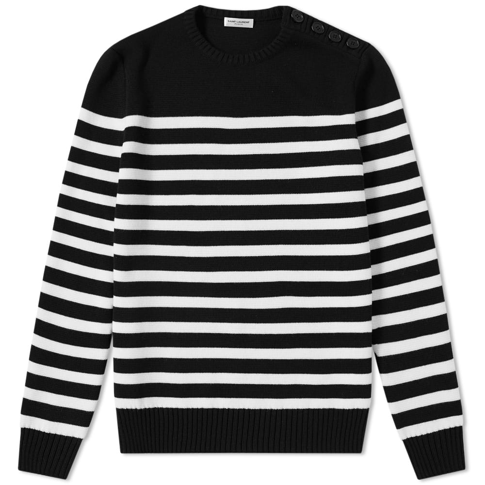 Photo: Saint Laurent Stripe Button Crew Knit