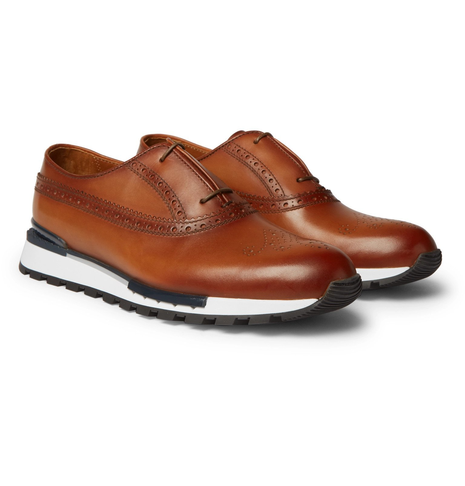 Photo: Berluti - Fast Track Leather Brogue Sneakers - Brown