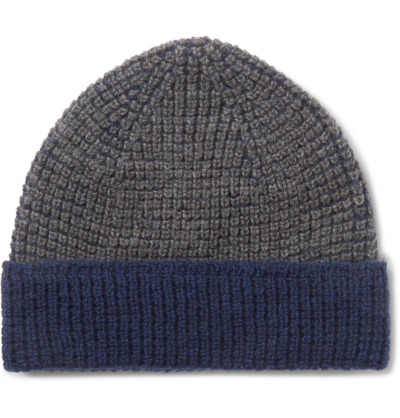 The Workers Club - Contrast-Detailed Merino Wool Beanie - Blue