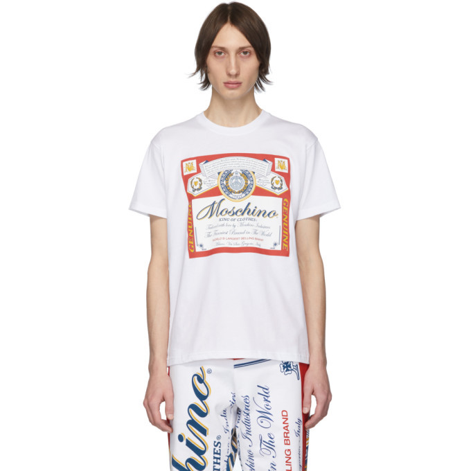 Photo: Moschino White Budweiser Edition Logo T-Shirt