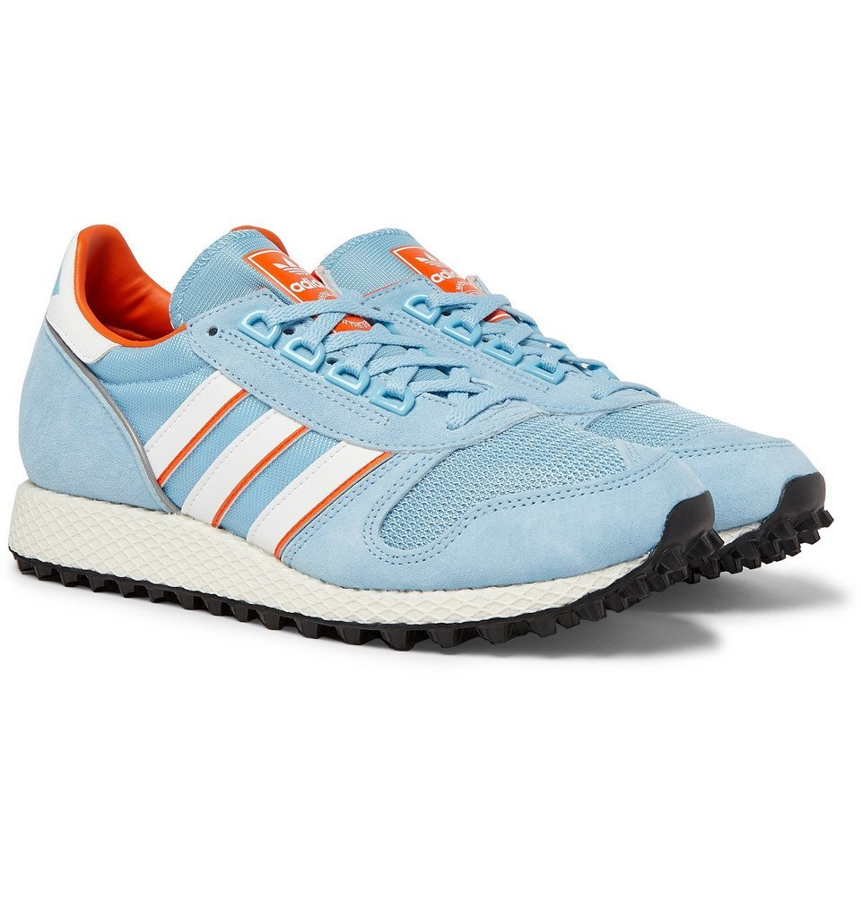 Photo: adidas Consortium - SPEZIAL Silverbirch Mesh and Suede Sneakers - Light blue