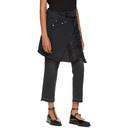 Sacai Black Pleated Wrap Skirt Jeans