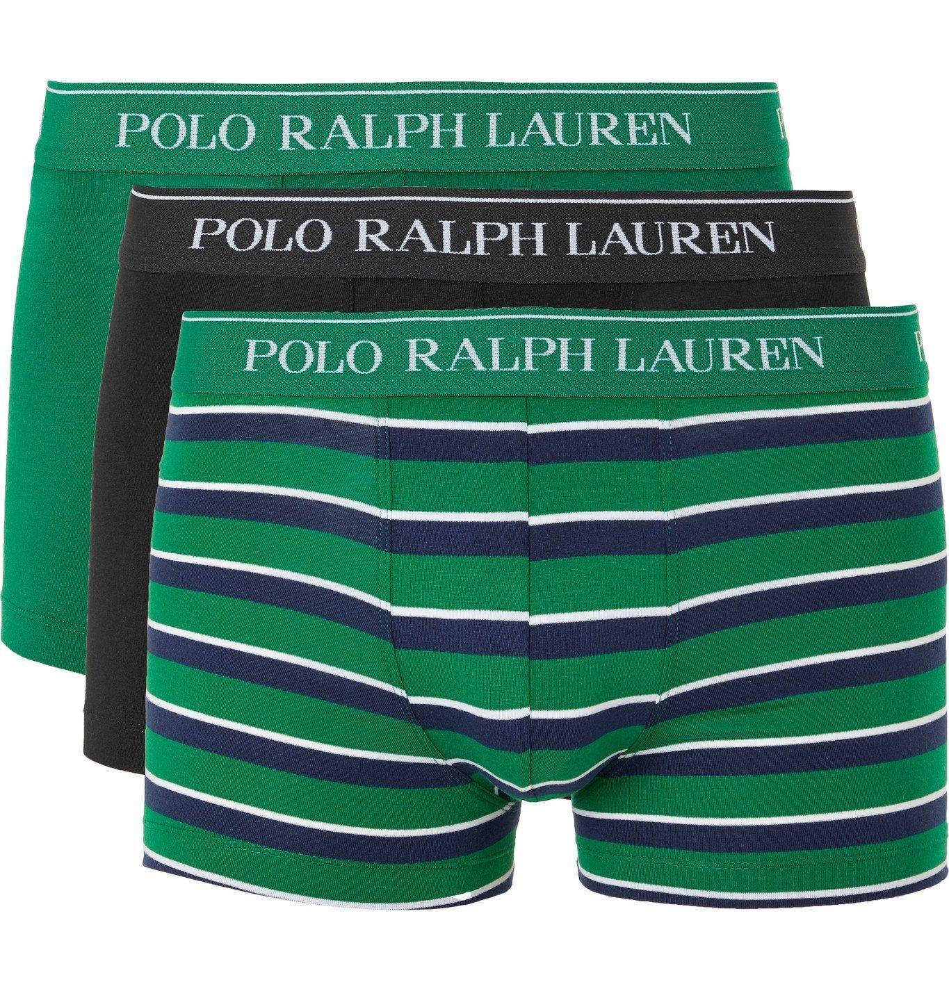 Photo: Polo Ralph Lauren - Three-Pack Stretch-Cotton Boxer Briefs - Multi