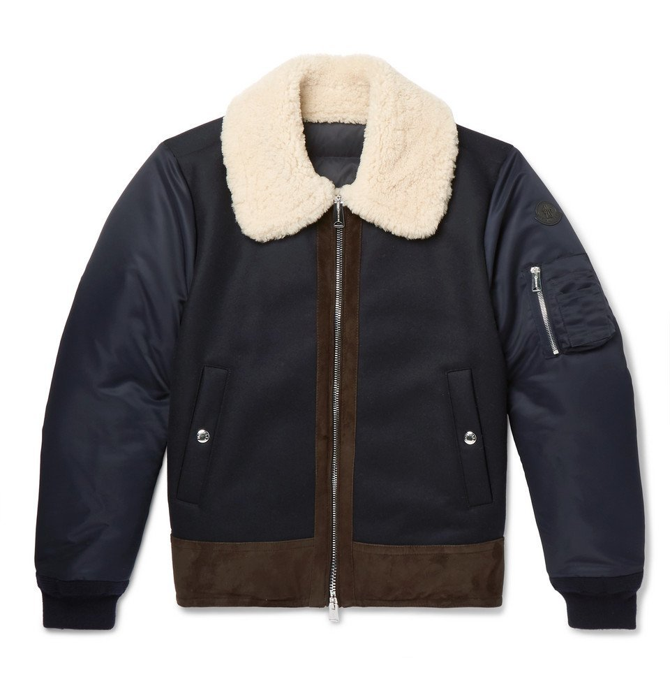 Photo: Moncler - Plovan Shearling and Suede-Trimmed Wool-Blend and Shell Bomber Jacket - Men - Navy