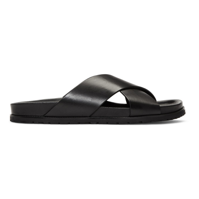 Photo: Saint Laurent Black Cross Jimmy Slides