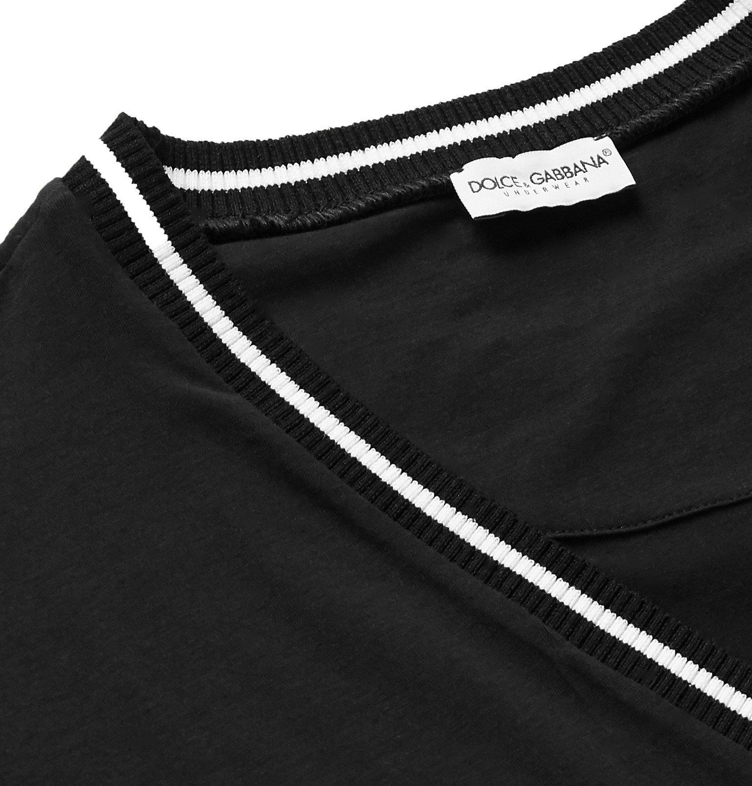 Dolce & Gabbana - Stretch Cotton-Jersey T-Shirt - Black