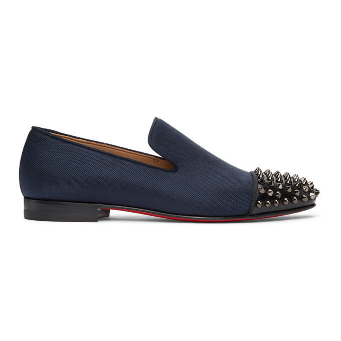 Photo: Christian Louboutin Navy and Black Spooky Spike Loafers