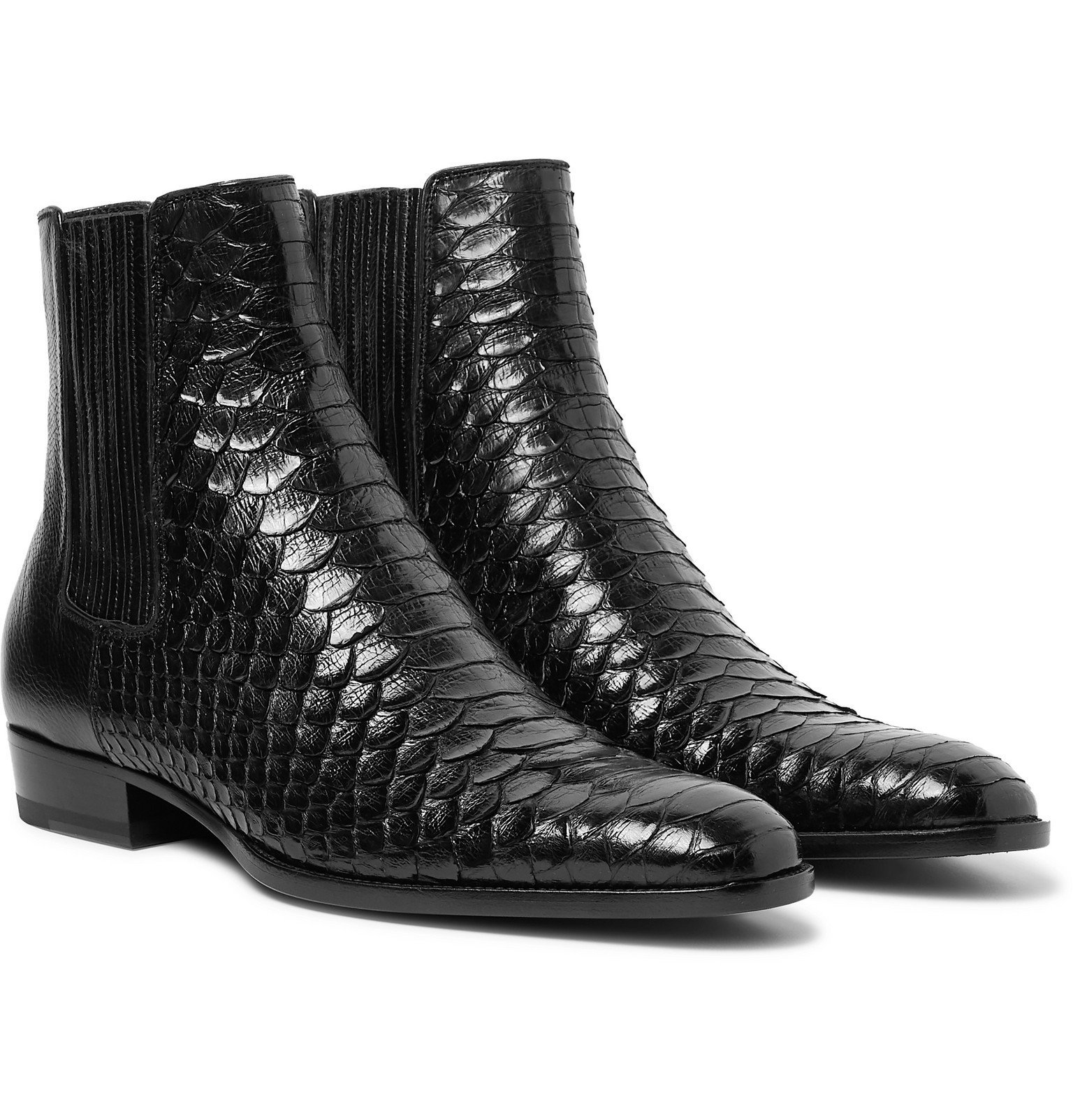 Photo: SAINT LAURENT - Wyatt Python and Leather Chelsea Boots - Black