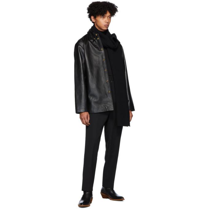 Lemaire Black Leather Shirt Jacket