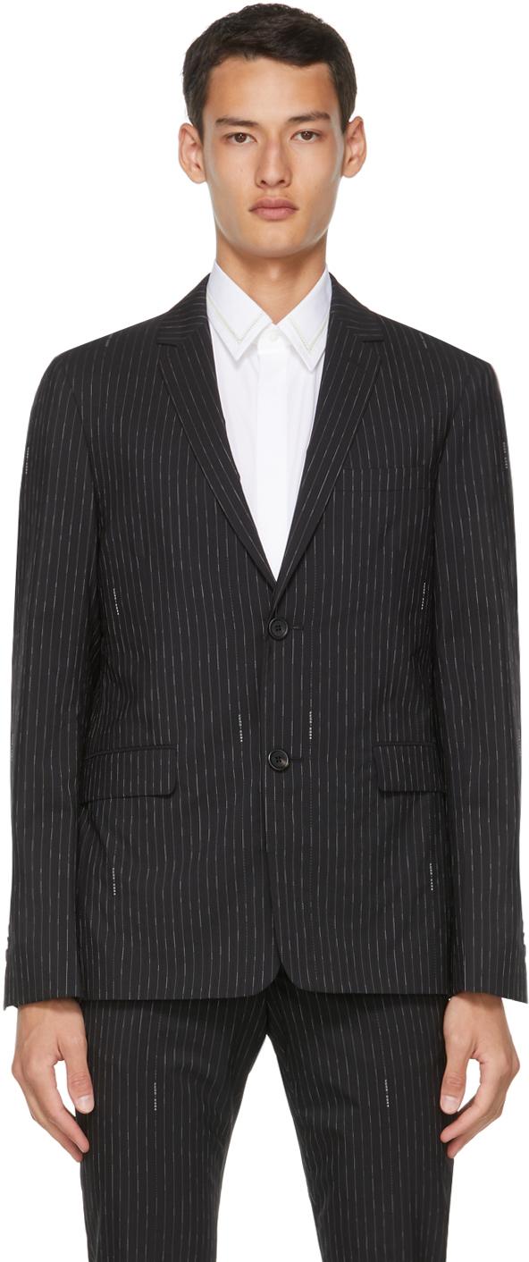 Photo: Fendi Black Pinstripe Logo Blazer